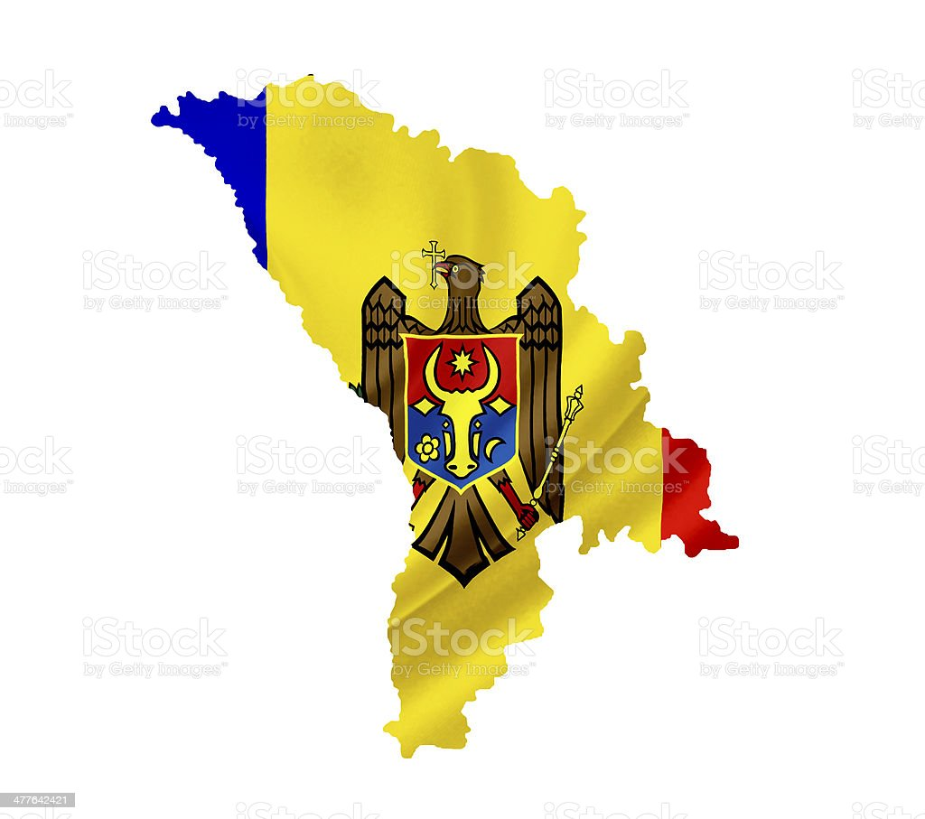 Map of Moldova with waving flag isolated on white royalty-free stock photo