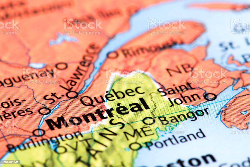 Map of Montreal and Quebec in Canada stock photo