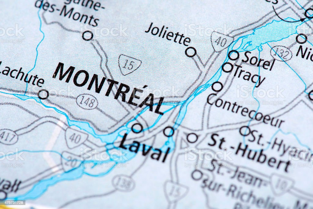 Map of Montreal in Canada stock photo