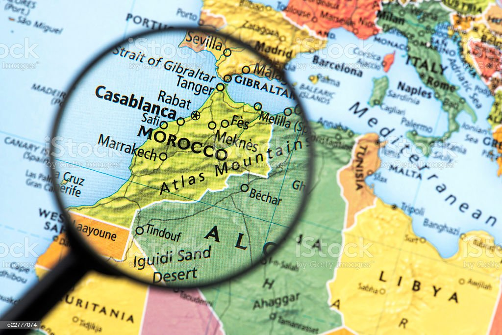 Map of Morocco stock photo