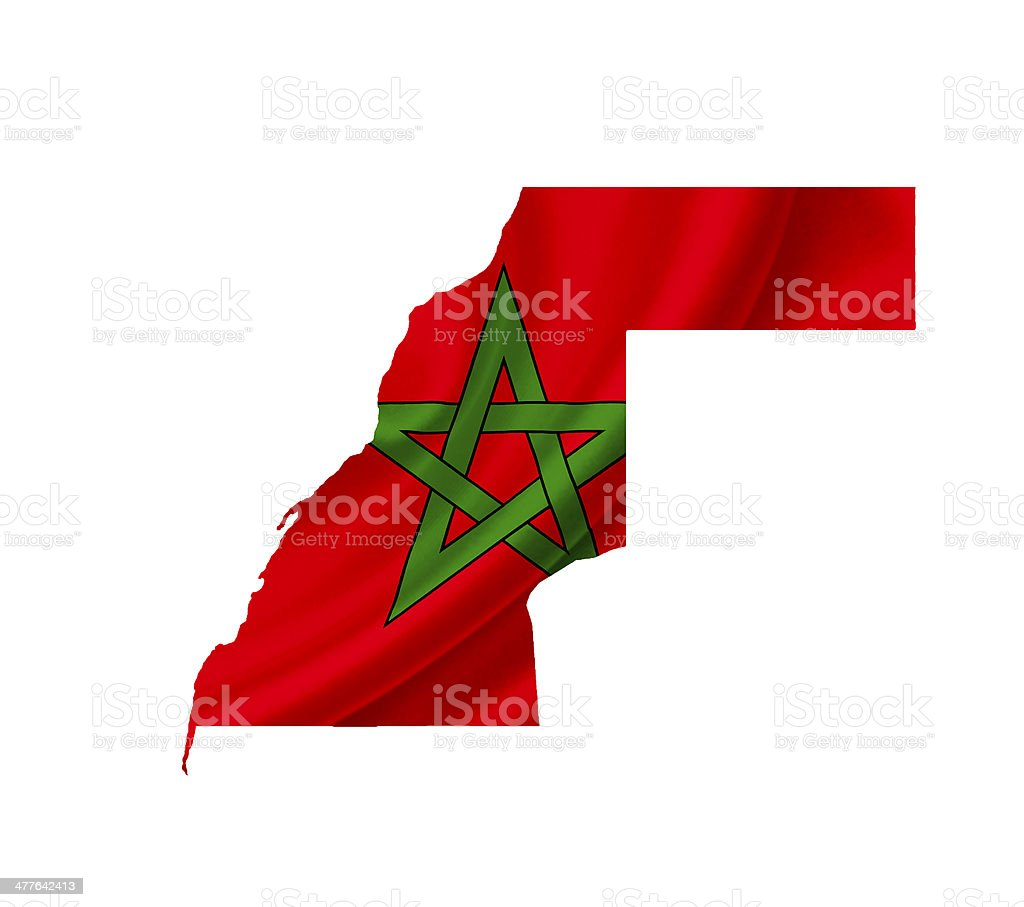 Map of Morocco with waving flag isolated on white royalty-free stock photo