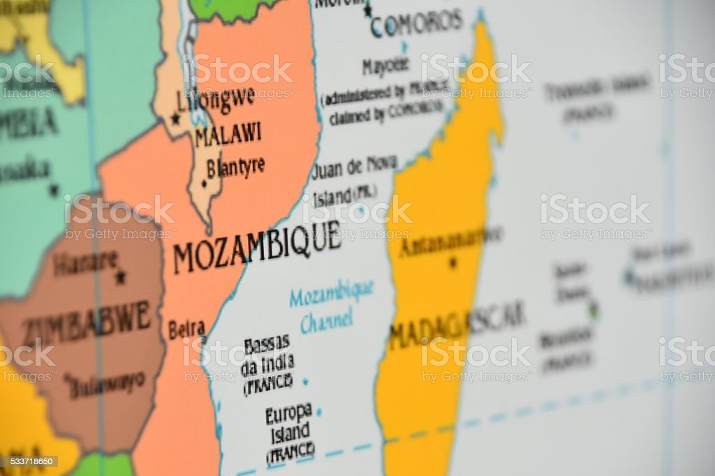 Map of Mozambique stock photo