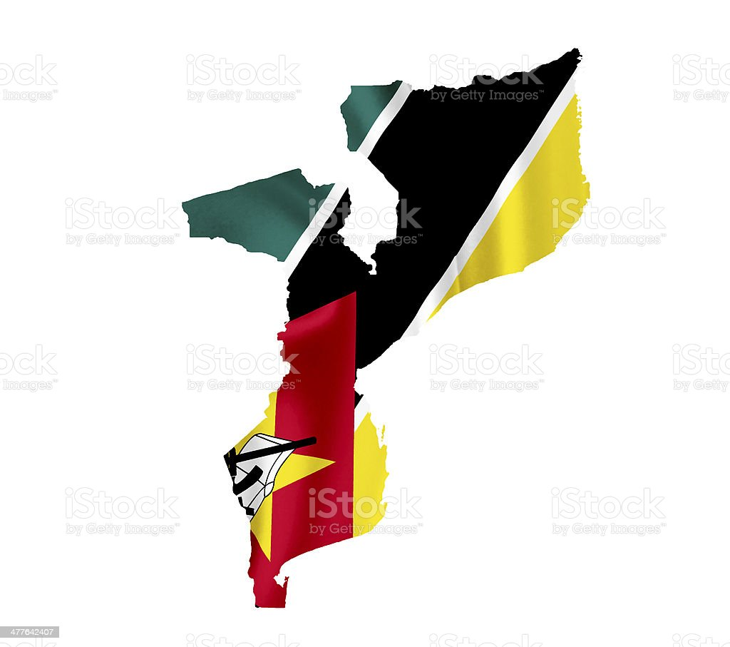 Map of Mozambique with waving flag isolated on white royalty-free stock photo