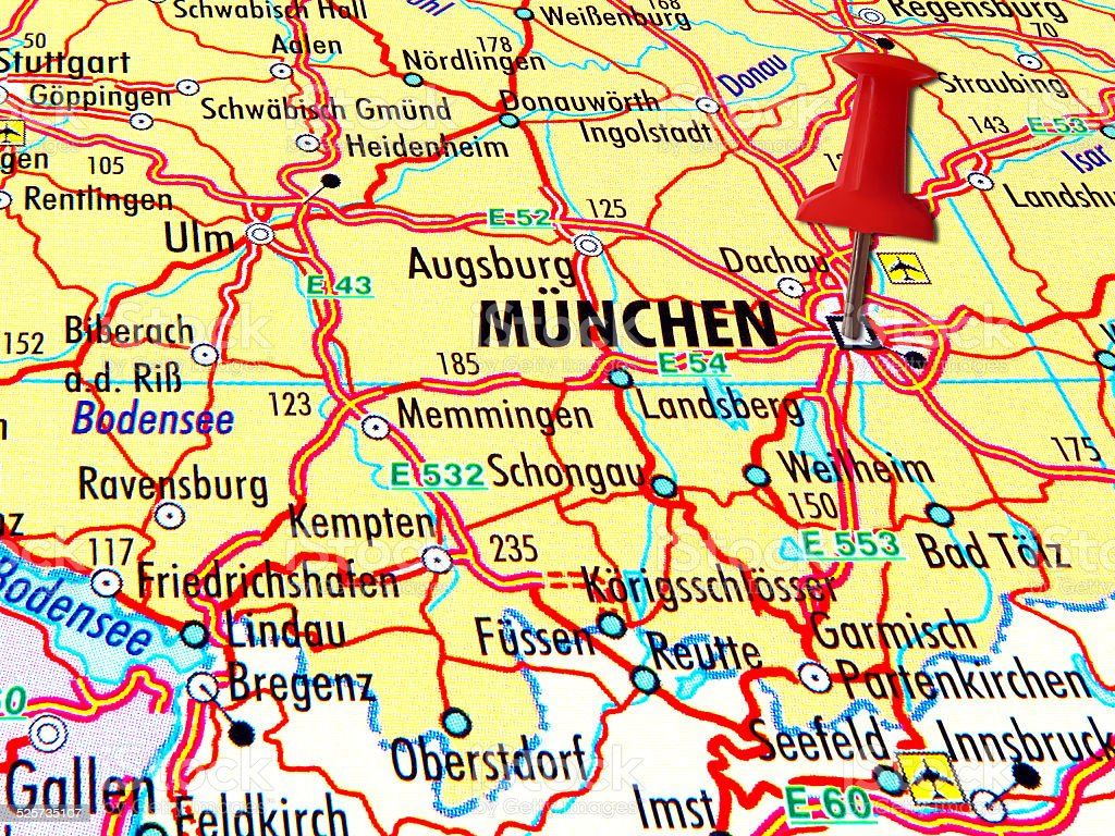 Map of Munchen with stabbed pin stock photo
