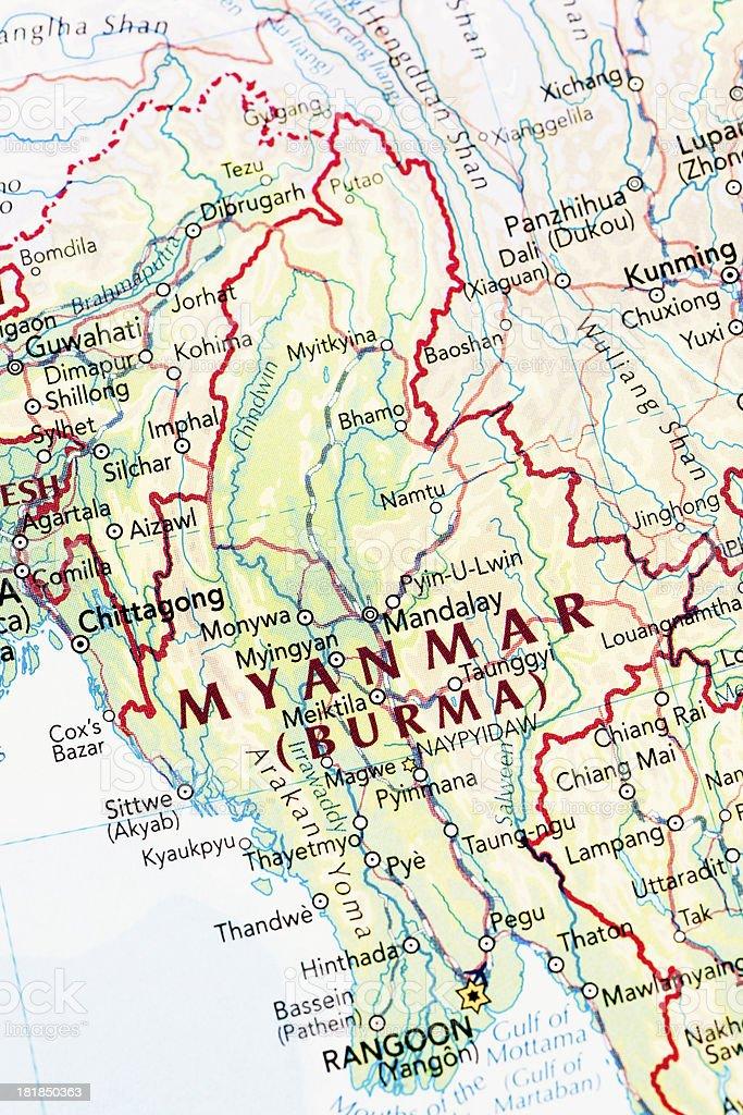 Map of Myanmar Burma stock photo