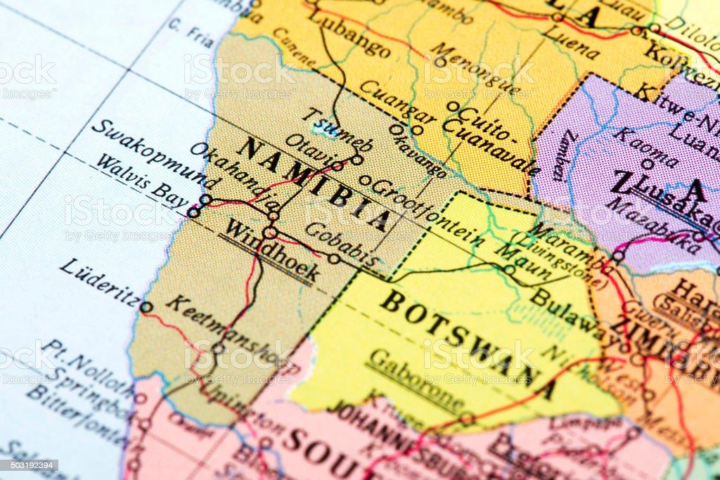 Map of Namibia stock photo