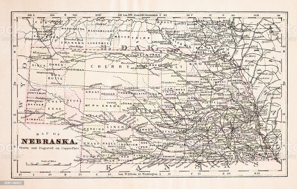 Map of Nebraska 1894 stock photo