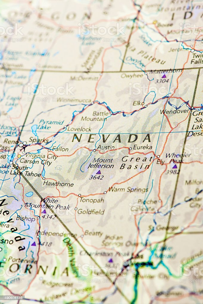 Map of Nevada stock photo