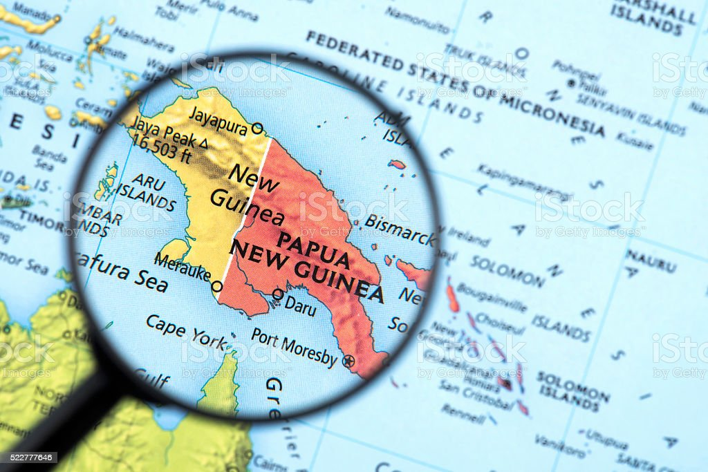Map of New Guinea stock photo