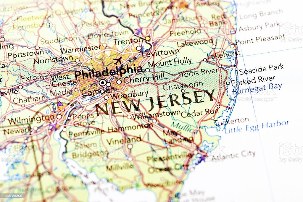 Map of New Jersey stock photo