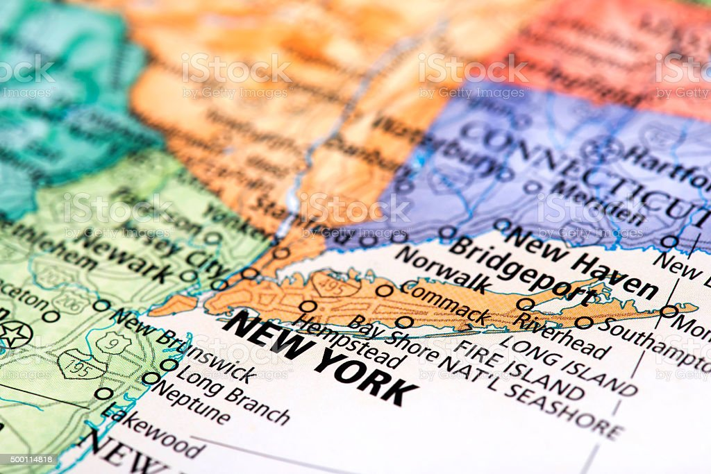 Map of New York State stock photo