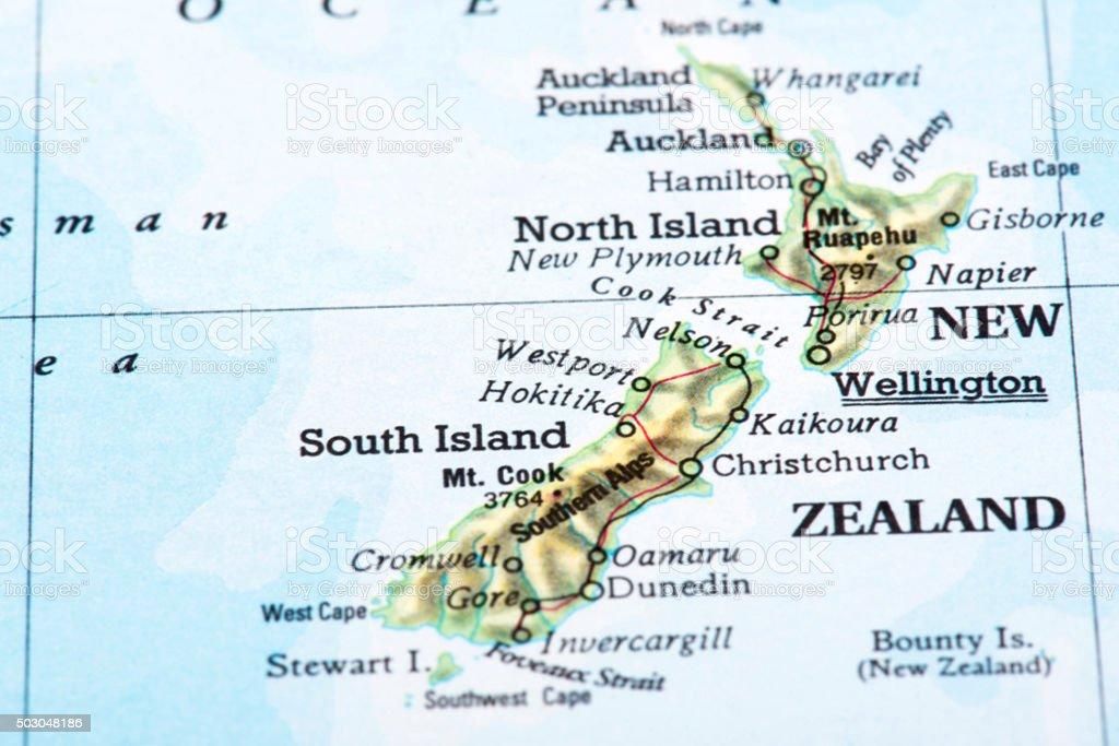 Map of New Zealand stock photo