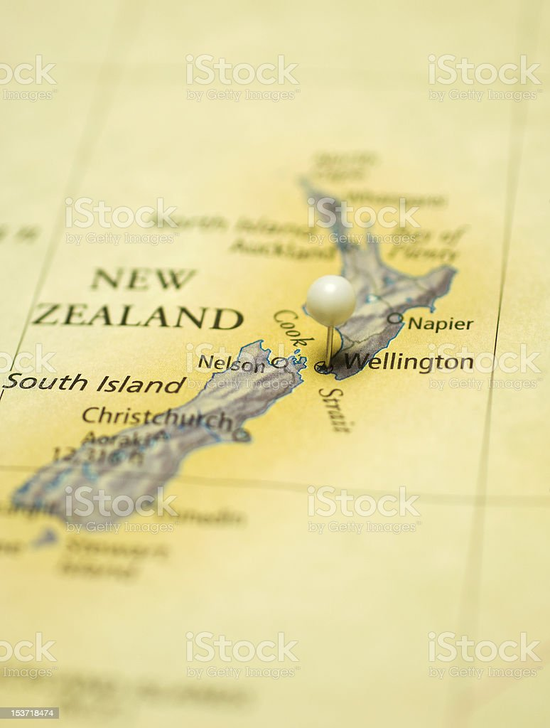 Map Of New Zealand With Capitol  Wellington stock photo