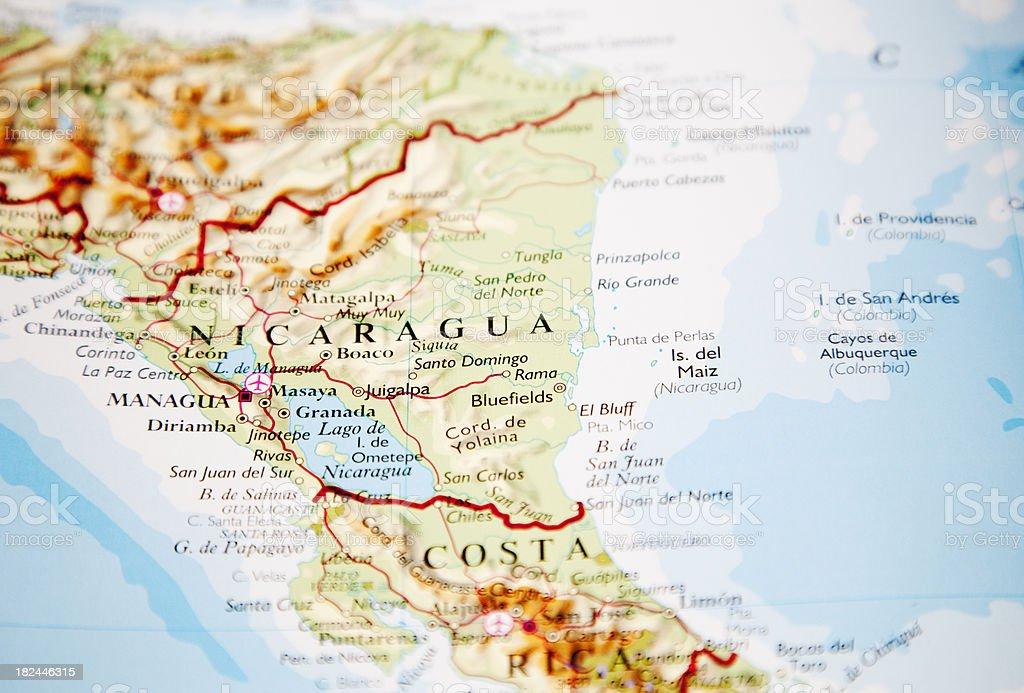 map of nicaragua stock photo