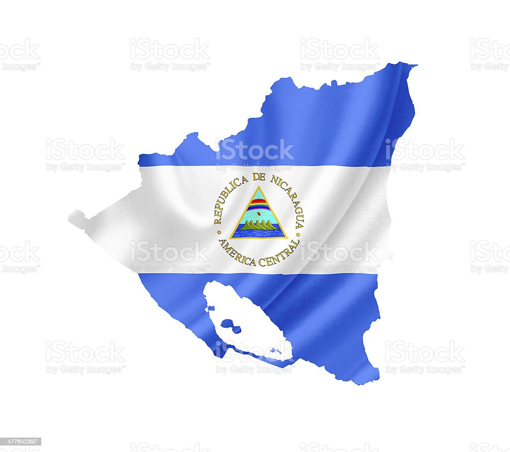 Map of Nicaragua with waving flag isolated on white stock photo