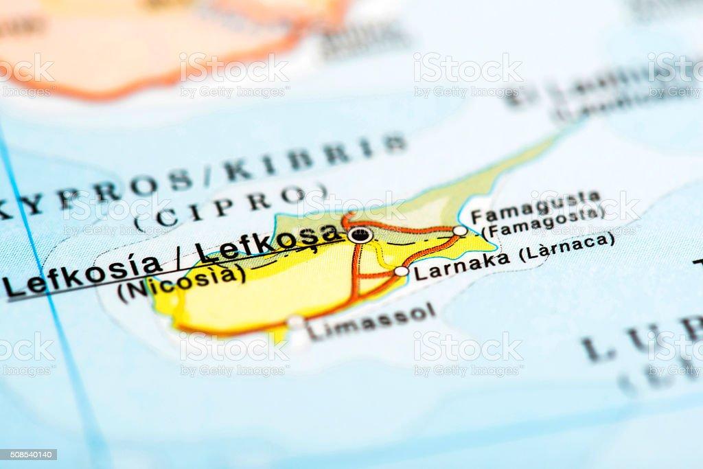 Map of Nicosia, Cyprus stock photo