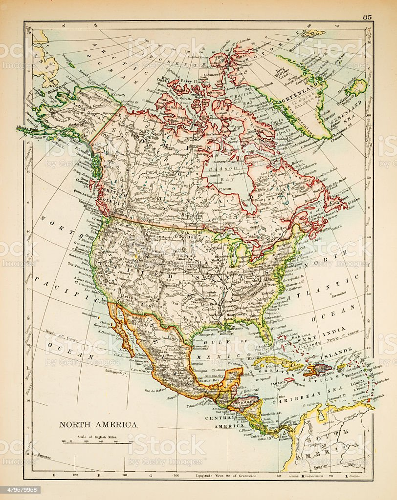 Map of North America 1897 stock photo