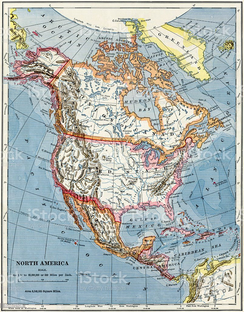 Map Of North America From 1883 stock photo