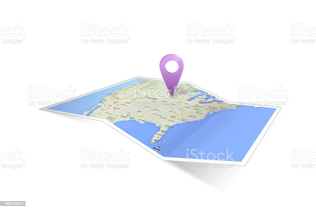 Map of North America with Icon stock photo