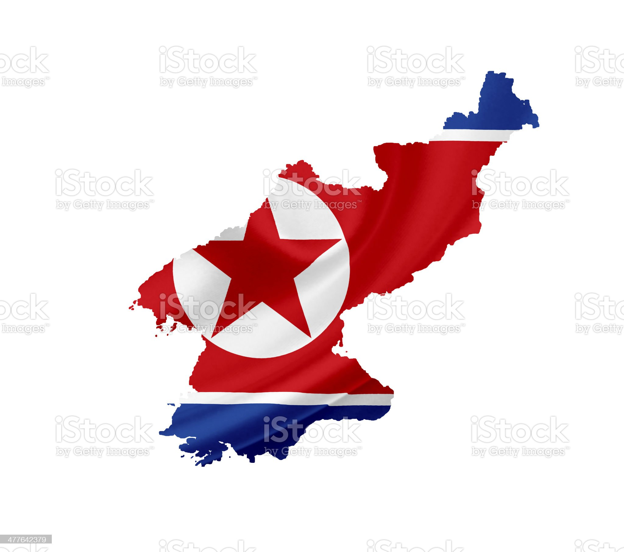 Map of North Korea with waving flag isolated on white royalty-free stock photo