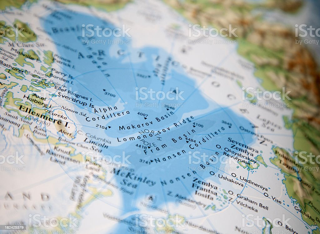 map of north pole stock photo
