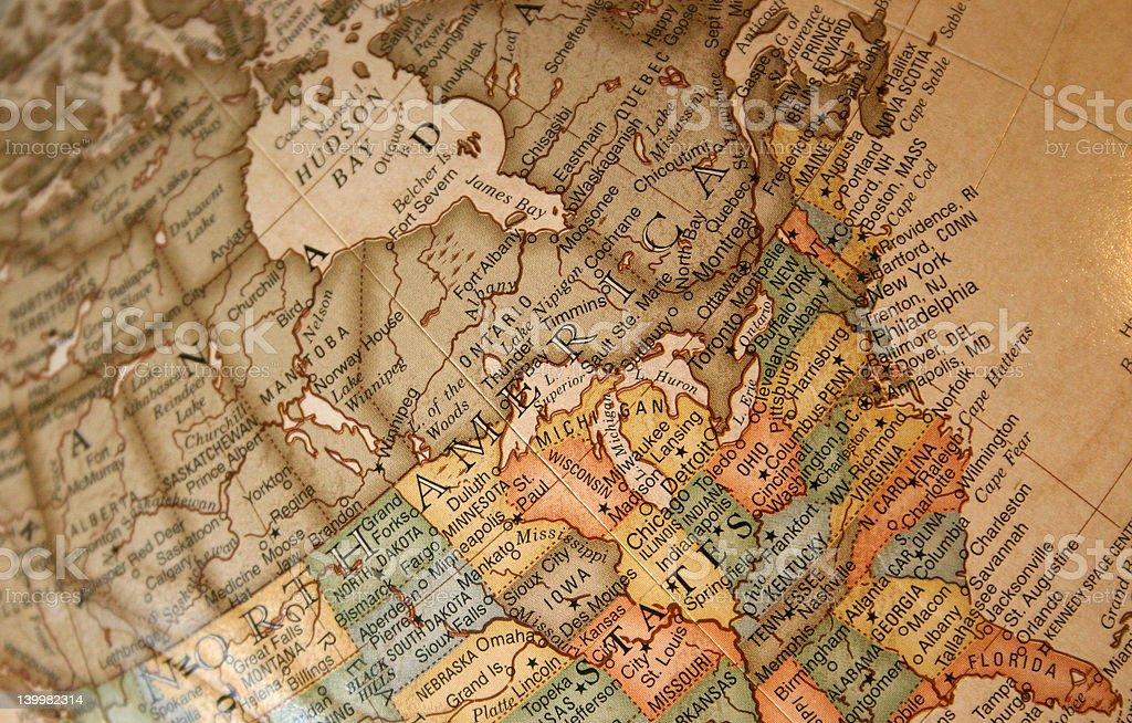 Map of northeastern America stock photo