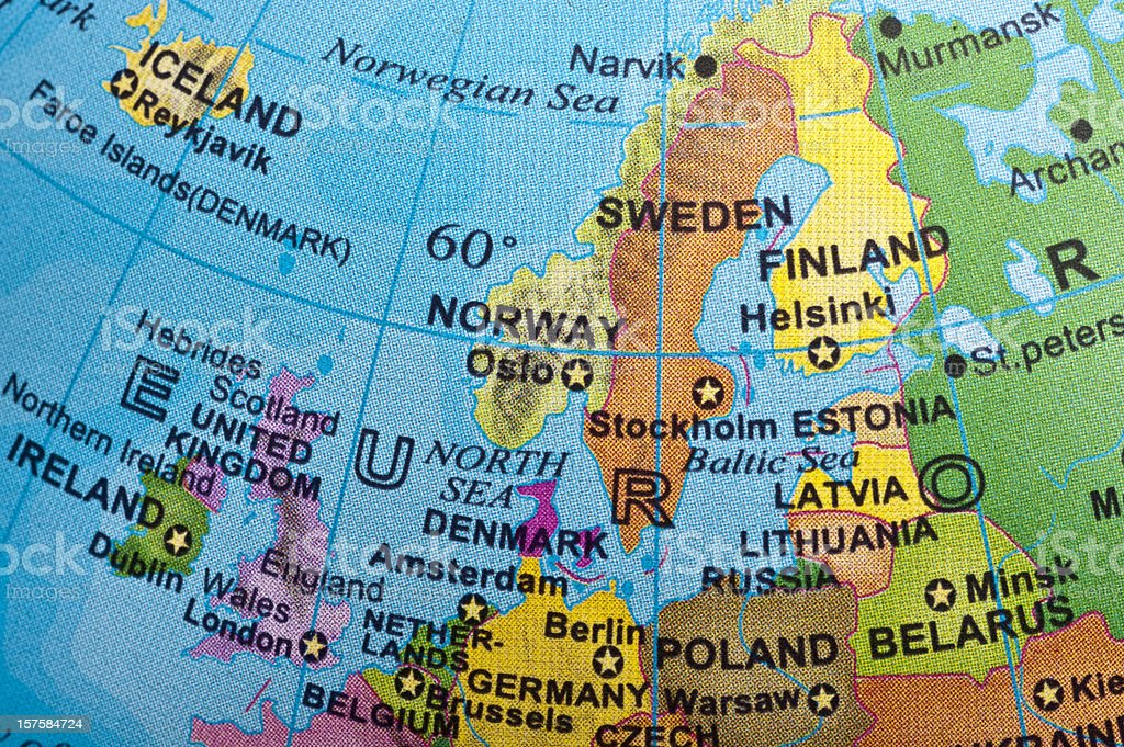 Map of Northern Europe stock photo