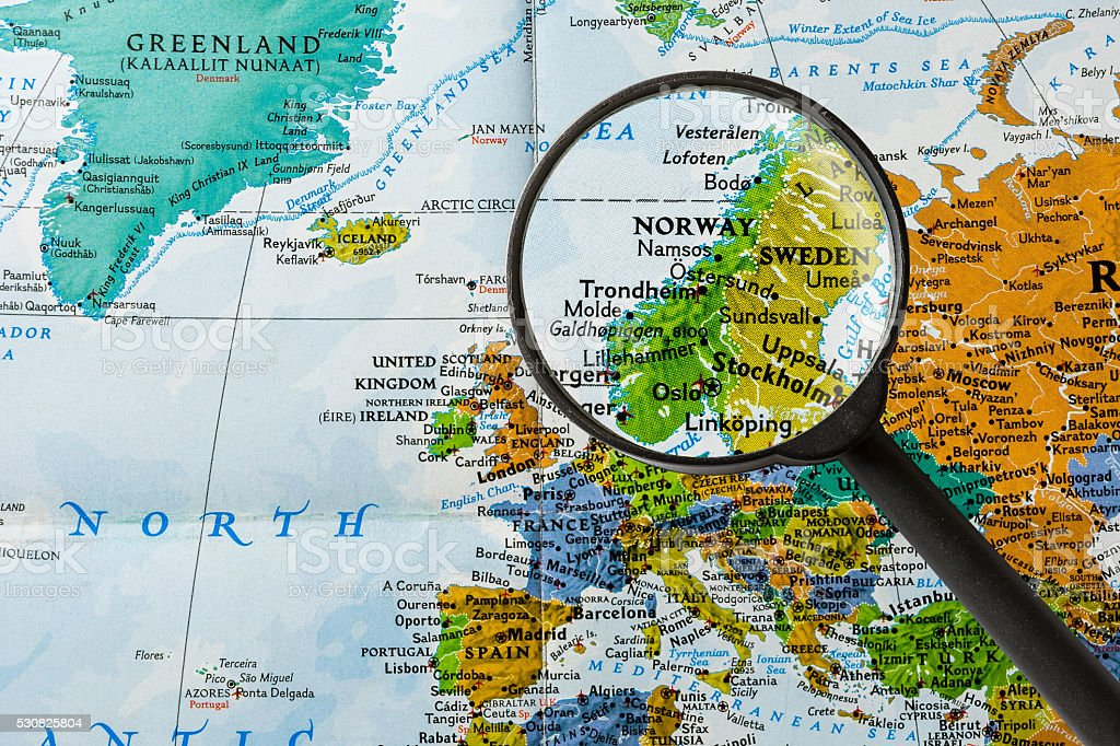 Map of Norway stock photo