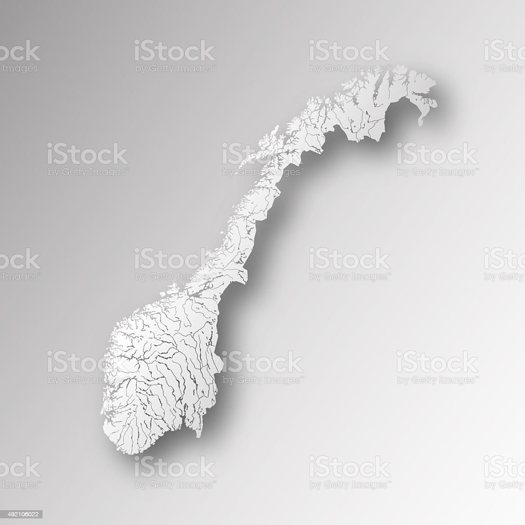Map of Norway with lakes and rivers. stock photo