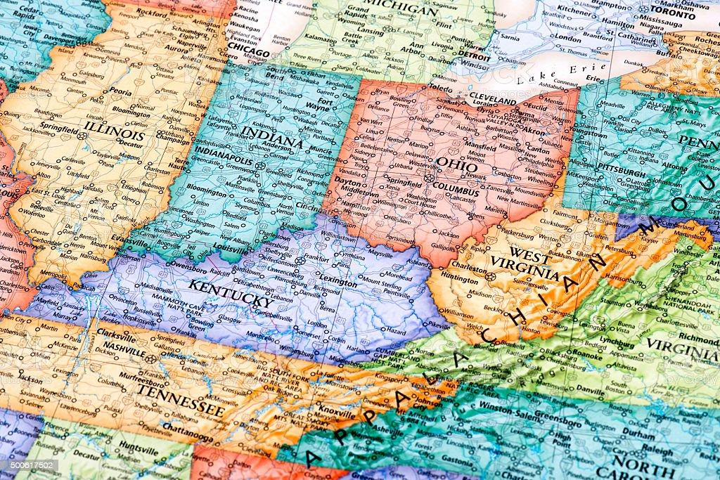 Map of Ohio, Indiana, West Virginia, Kentucky States stock photo