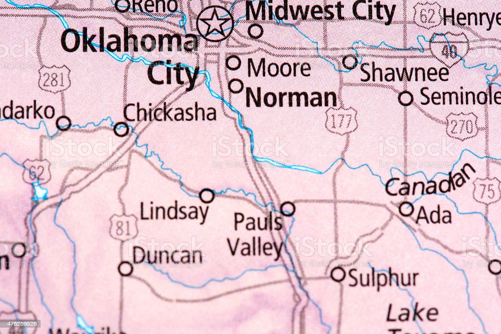 Map of Oklahoma City in Oklahoma State, USA stock photo