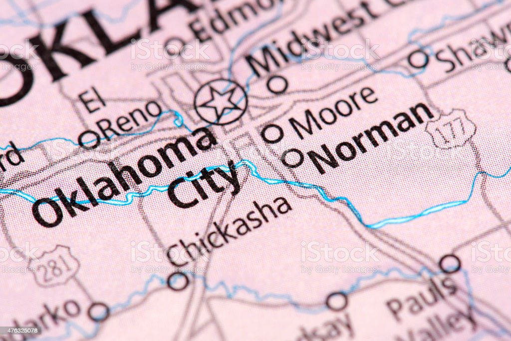 Map of Oklahoma City in Oklahoma State, USA stock photo