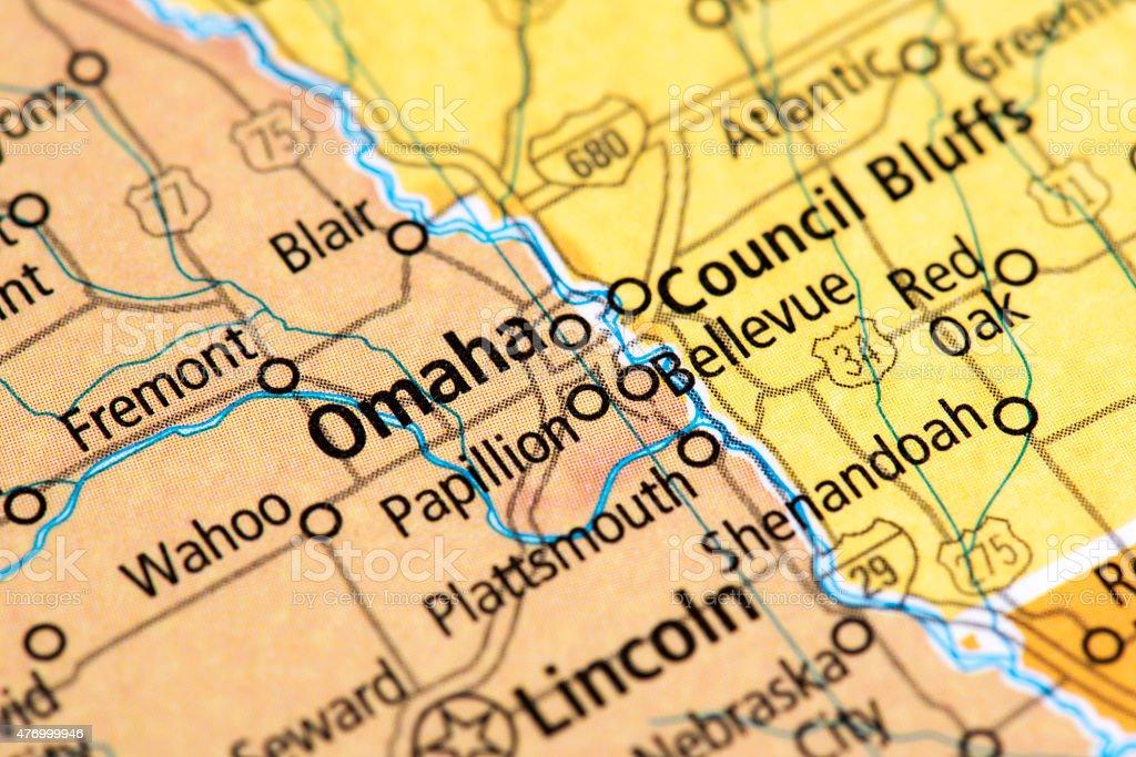 Map of Omaha in Nebraska State, USA stock photo