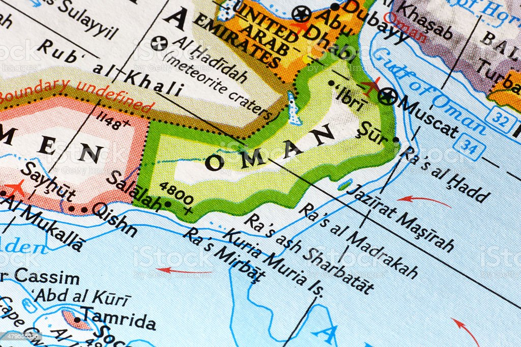 Map of Oman stock photo