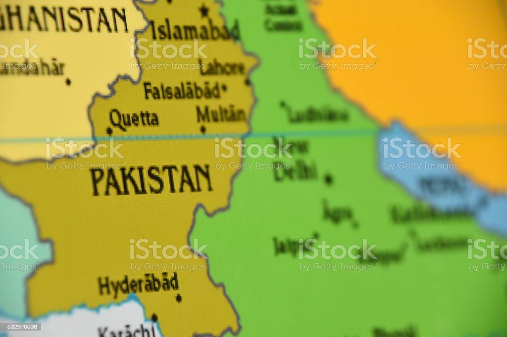 Map of Pakistan stock photo