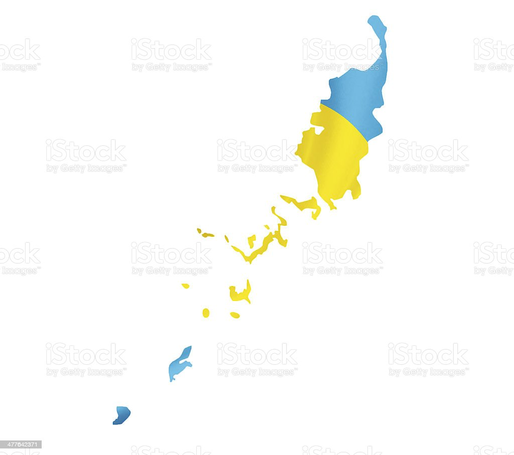 Map of Palau with waving flag isolated on white royalty-free stock photo