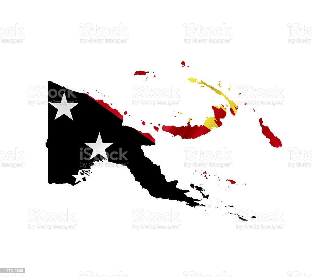 Map of Papua New Guinea waving flag isolated on white royalty-free stock photo