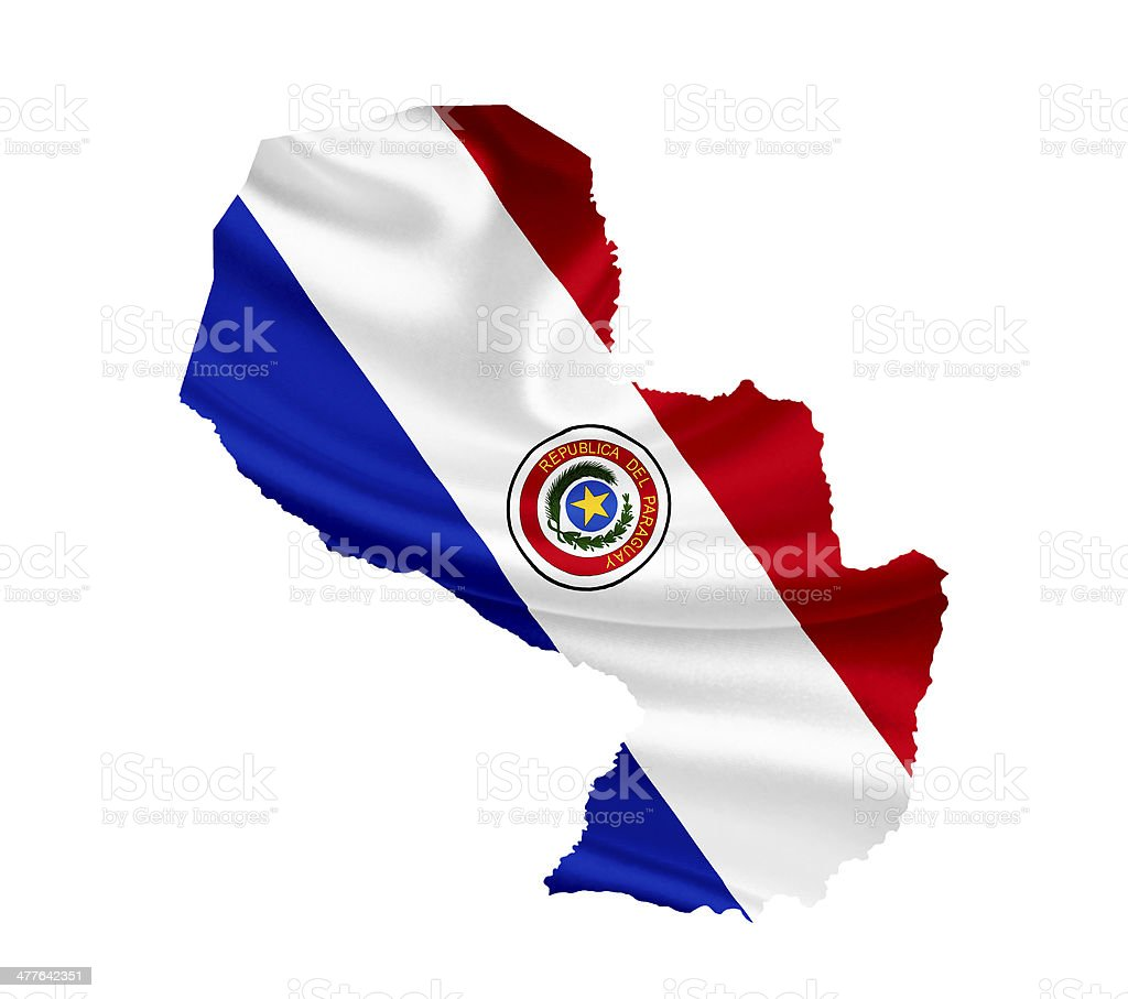 Map of Paraguay with waving flag isolated on white royalty-free stock photo