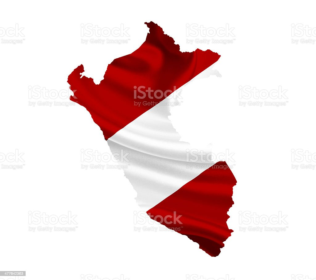 Map of Peru with waving flag isolated on white royalty-free stock photo