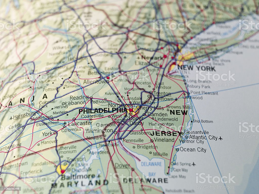 Map of Philadeplhia stock photo