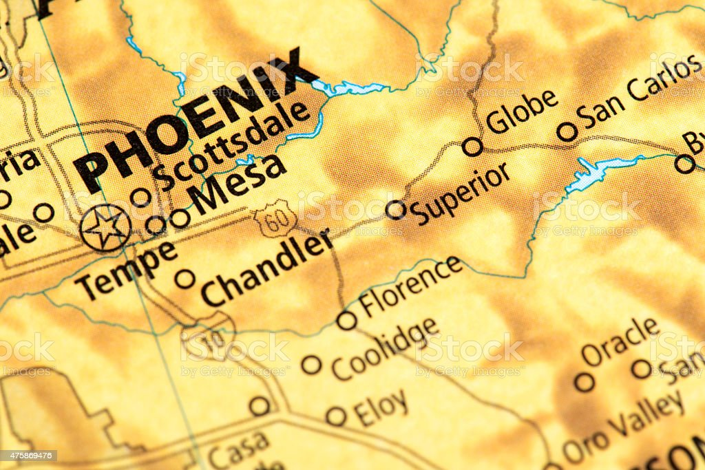 Map of Phoenix in Arizona State, USA stock photo