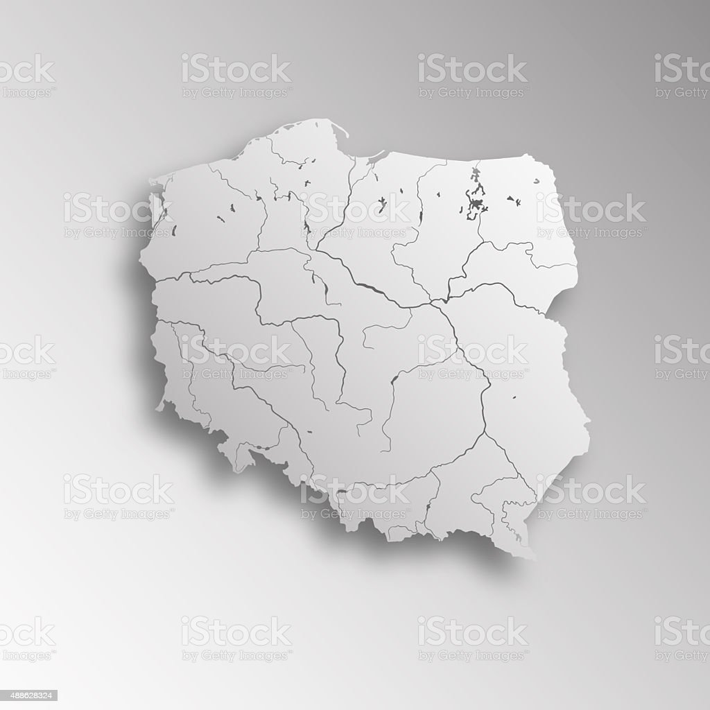 Map of Poland. stock photo