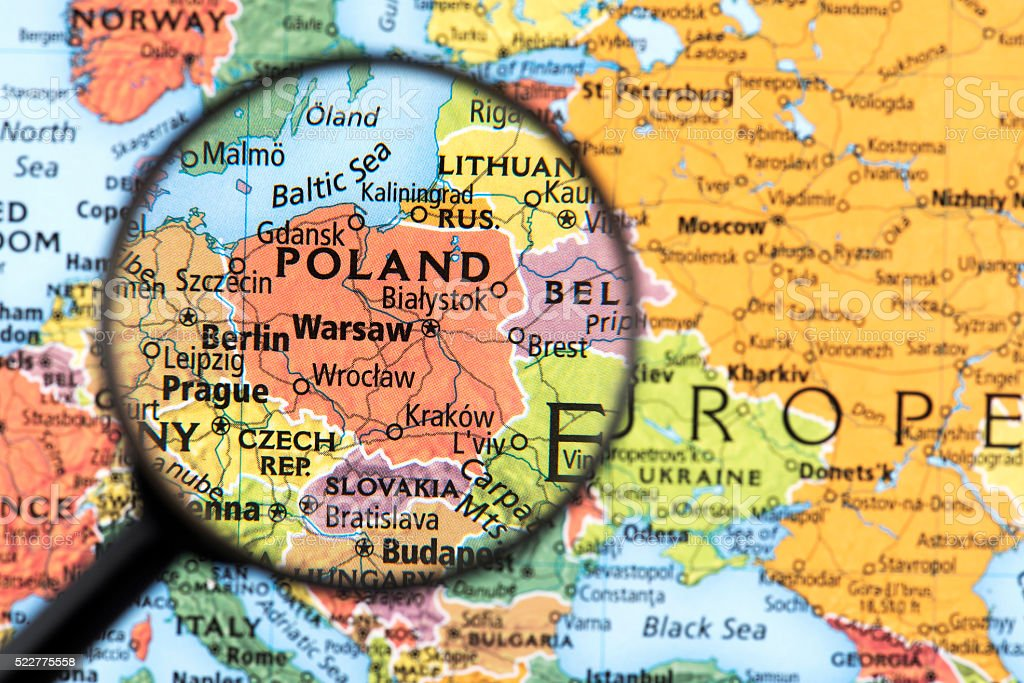 Map of Poland stock photo