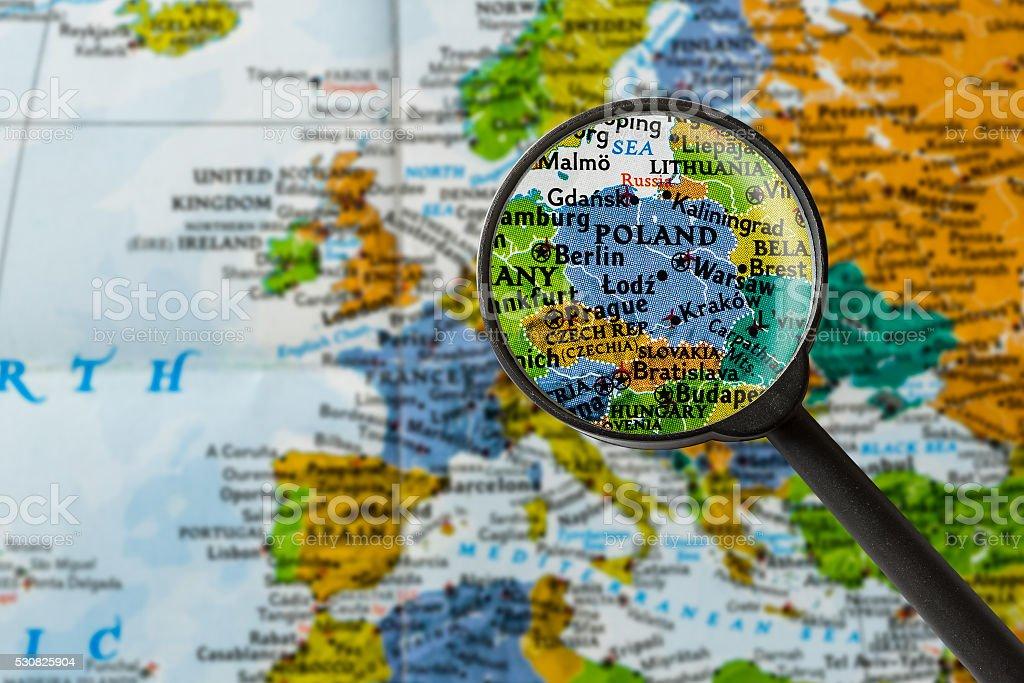 Map of Poland stock photo