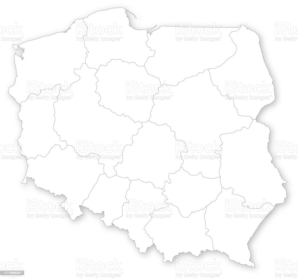 Map of Poland with voivodeships vector art illustration