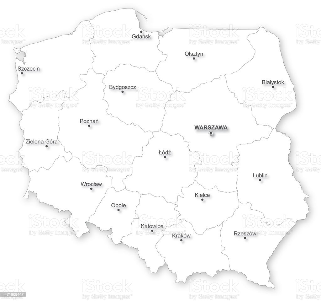 Map of Poland with voivodeships. vector art illustration