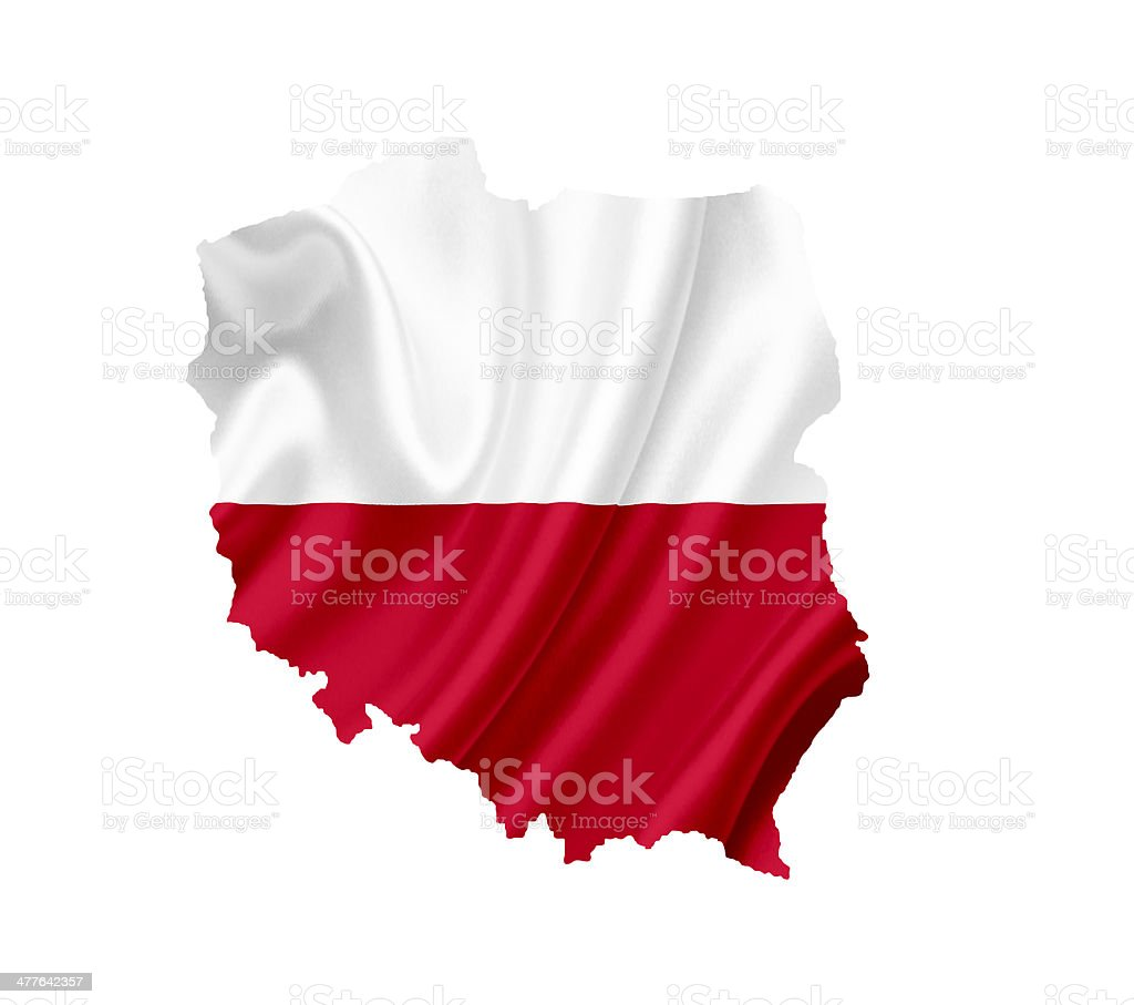 Map of Poland with waving flag isolated on white royalty-free stock photo