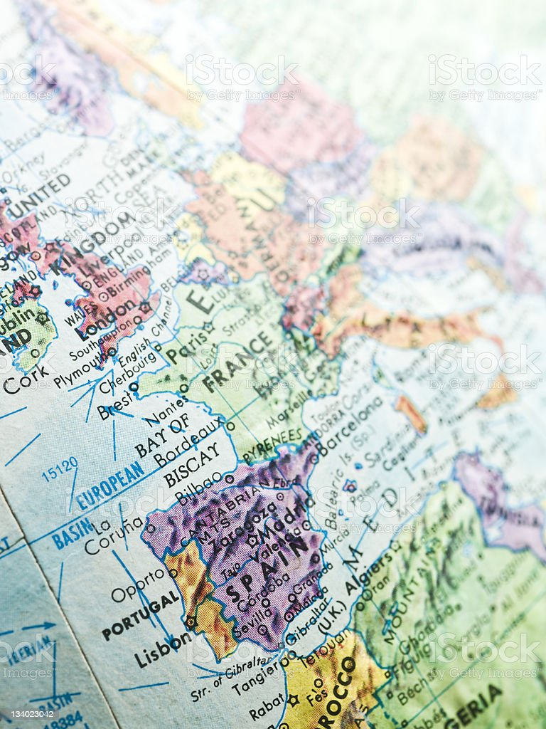 Map of Portugal and Spain stock photo