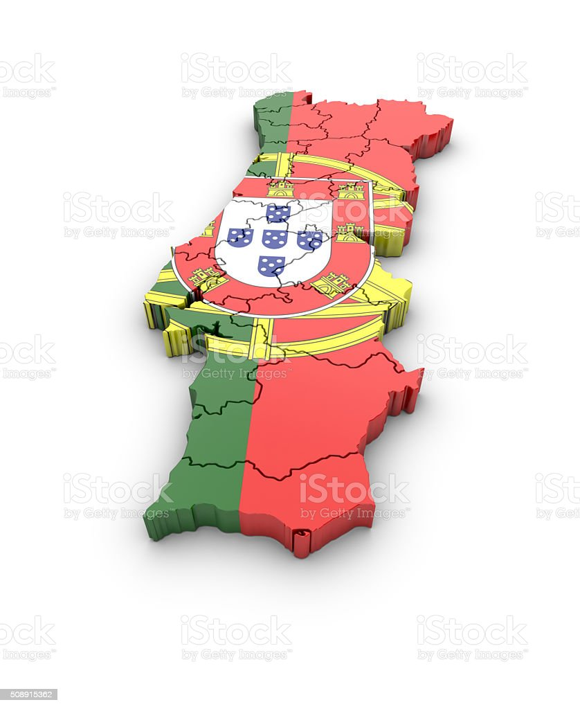 Map of Portugal on white background. royalty-free stock photo
