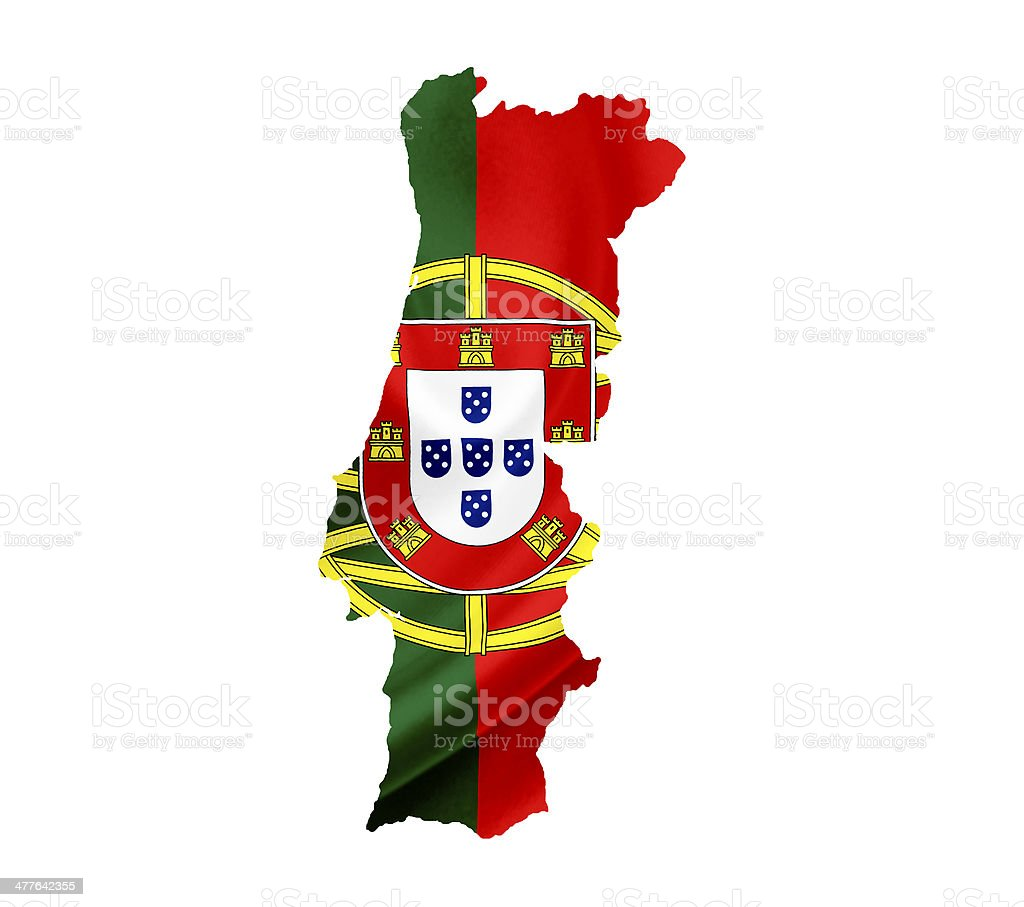 Map of Portugal with waving flag isolated on white royalty-free stock photo